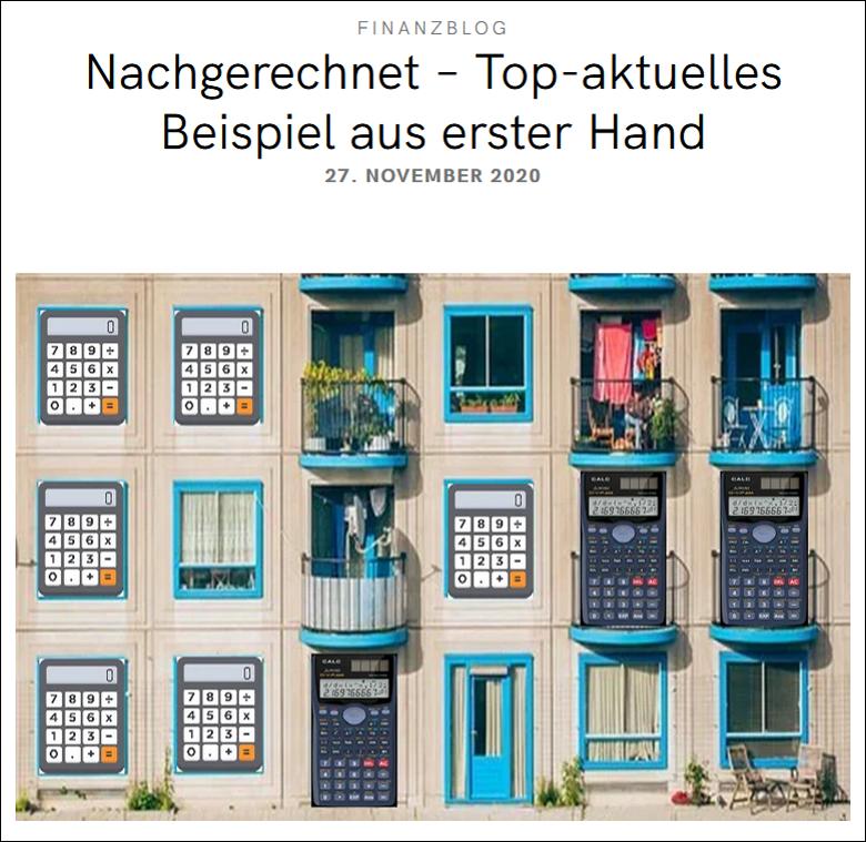 Blogbeitrag Nachgerechnet - topaktuelles Beispiel Immobilien