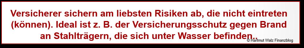 Versicherer sichern am liebsten Risiken ab, die nicht eintreten