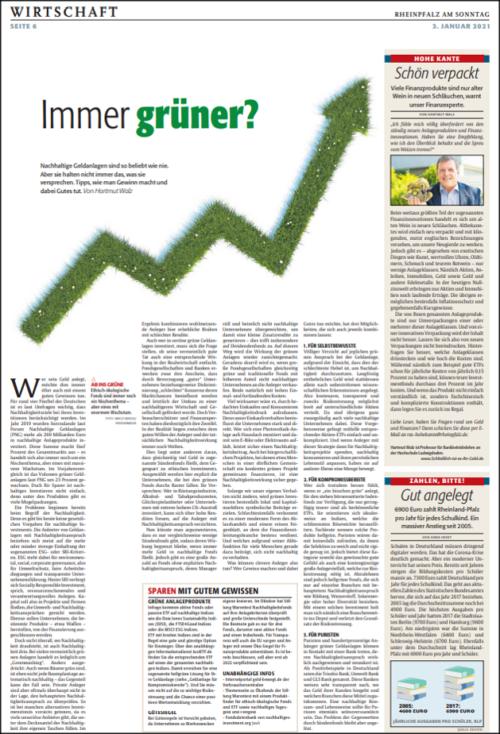 RHEINPFALZ-Artikel Immer grüner vom 03.Jan.2021